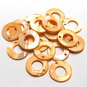 """Набор перламутровых бусин """"Оранжевые кольца большие"""", 20 шт., 20 мм - Бусины"""