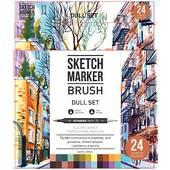 Набор маркеров Sketchmarker Brush Dull set 24  - Монотонные оттенки  (24 маркера + сумка органайзер) - Инструменты