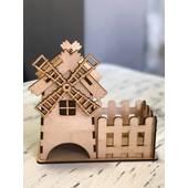 Чайный домик с мельницей и забором, 20*10*20 см - Чайные домики