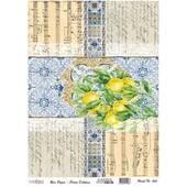 """Рисовая карта """"Лимоны и плитка"""", 30*41 см - Декупажные карты"""