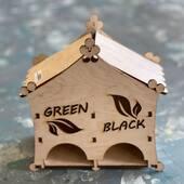 """Заготовка """"Чайный домик Green Black"""", 90х180х180 мм - Чайные домики"""