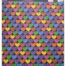 Бумага с тиснением «Разноцветные сердца», 30,5х30,5 см - Односторонняя скрап бумага