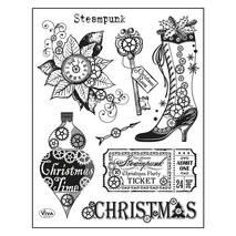 Набор силиконовых штампов «Рождество в стиле стимпанк», 14х18 см - Штампы