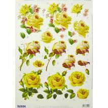 3Д-аппликация «Желтые розы», 210х297 мм - 3D - аппликации