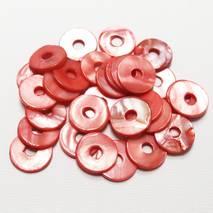 """Набор перламутровых бусин """"Красные кольца малые"""", 30 шт., 15 мм - Бусины"""