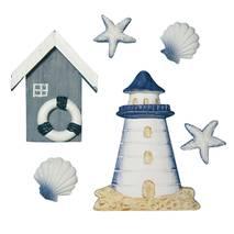 """Набор декоративных элементов """"Домик на море"""", 2-8 см, 6 шт. - Объемные элементы"""