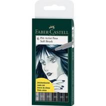 Набор ручек Faber-Castell 6 Pitt Artist Pen Brush, SB, оттенки серого - Скетчинг
