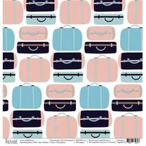 "Чемоданы - бумага для творчества, ""На чемоданах"", 30,5х30,5 см - Односторонняя скрап бумага"