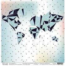 "Карта мира - бумага для творчества, ""На чемоданах"", 30,5х30,5 см - Односторонняя скрап бумага"