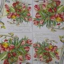 """Салфетка 33*33 см """"Тюльпаны и велосипед"""" - Флора и фауна"""