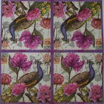 """Салфетка 33*33 см """"Павлин в пурпурных цветах"""" - Флора и фауна"""