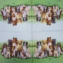 """Салфетка 33*33 см """"Собаки на траве"""" - Флора и фауна"""