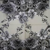 """Салфетка 33*33 см """"Черно-белые цветы"""" - Флора и фауна"""