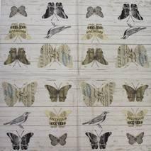 """Салфетка 33*33 см """"Птицы и бабочки на деревянном фоне"""" - Флора и фауна"""