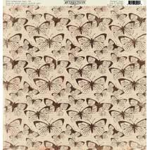 "Бумага для скрапбукинга, 30,5 х 30,5 см, ""Бабочки"",  Authentique - Двухсторонняя скрап бумага"