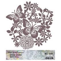 "Трафарет - маска ""Цветы и бабочки"", коллекция ""Trendy Shadow"", 25*25 см - Трафареты"