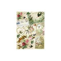 """Рисовая карта """"Птицы, цветы, письма"""", 30*41 см - Декупажные карты"""