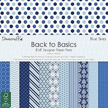 Бумага для скрапбукинга, 30*30 см, коллекция Dovecraft Back To Basics Blue Skies - Бумага для скрапбукинга