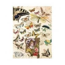 """Рисовая карта """"Бабочки и портрет"""", 21*29 см - Декупажные карты"""