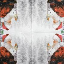 "Салфетка 33*33 см ""Санта и птичка"" - Новый год"