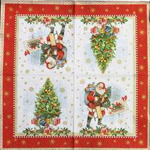 "Салфетка 33*33 см ""Санта и марка"" - Новый год"