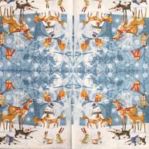 """Салфетка 33*33 см """"Олени, еноты и снеговик"""" - Новый год"""
