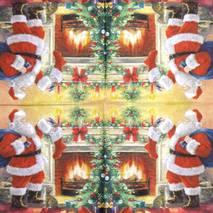 """Салфетка 33*33 см """"Санта около камина"""" - Новый год"""