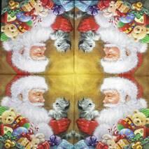 "Салфетка 33*33 см ""Санта и котенок"" - Новый год"