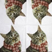 """Салфетка 33*33 см """"Котик в шарфике"""" - Новый год"""