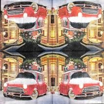 """Салфетка 33*33 см """"Машина с подарками"""" - Новый год"""