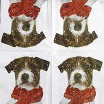 """Салфетка 33*33 см """"Собака с шарфом"""" - Новый год"""
