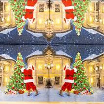"""Салфетка 33*33 см """"Санта и ель"""" - Новый год"""