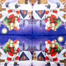 """Салфетка 33*33 см """"Санта с мешком подарков"""" - Новый год"""