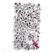 Бусины с буквами белые, 130 штук - Объемные элементы