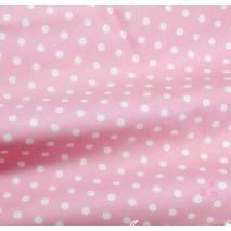 """Ткань """"Горошек крупный"""" розовая - Ленты, ткани"""