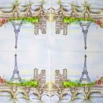 "Салфетка 33*33 см ""Париж"" - Города и пейзажи"