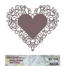 """Трафарет - маска """"Сердце с ажурной оборкой"""", коллекция """"Trendy Shadow"""", 25*25 см - Трафареты"""