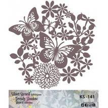 "Трафарет - маска ""Бабочки-цветок"", коллекция ""Trendy Shadow"", 25*25 см - Трафареты"