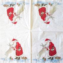 """Салфетка 33*33 см """"Санта и олень"""" - Новый год"""