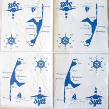 "Салфетка 33*33 см ""Карта и маяк"" - Морские мотивы"