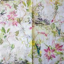 "Салфетка 33*33 см ""Цветы и птица"" - Флора и фауна"