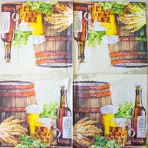 """Салфетка 33*33 см """"Бочка пива"""" - Кухонная тематика и еда"""