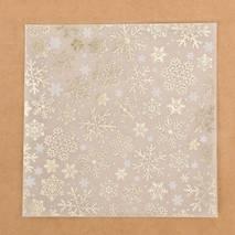 Бумага для скрапбукинга (калька c фольгированием «Снежинки», 15,5 х 15,5 см) - Бумага для скрапбукинга