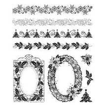 """Набор силиконовых штампов, """"Новогодние бордюры и рамки"""", 14х18 см - Штампы"""