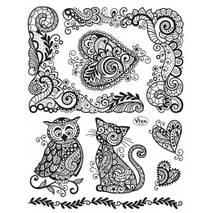 """Набор силиконовых штампов, """"Кот и совушка"""", 14х18 см - Штампы"""