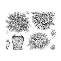 """Набор силиконовых штампов, """"Вазон с цветами"""", 14х18 см - Штампы"""