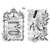 """Набор силиконовых штампов, """"Ласточки и клетка"""", 14х18 см - Штампы"""