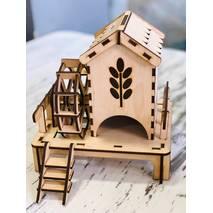 Чайный домик с мельницей и лестницей, 21*16*21 см - Чайные домики