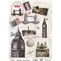 """Рисовая карта """"Лондон"""", 21*29 см - Декупажные карты"""
