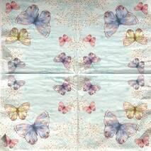 """Салфетка 33*33 см """"Бабочки на голубом фоне"""" - Флора и фауна"""